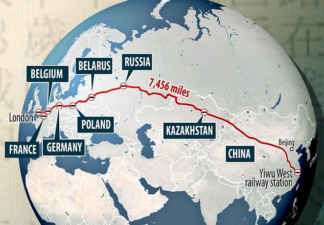 Железная дорога из КНР (Иу) в Великобританию (Лондон)