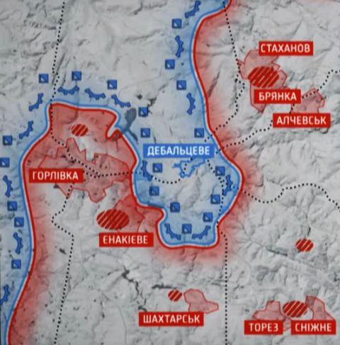 Карта российских и украинских войск в боях под Дебальцево