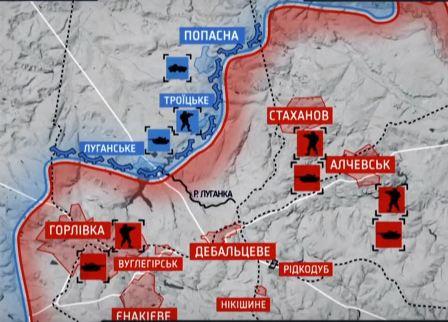 Карта расположения российских оккупационных войск и украинских войск после боёв под Дебальцево