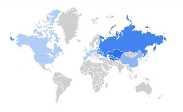 Китай в Гугл - Карта популярності пошукового слова по країнам