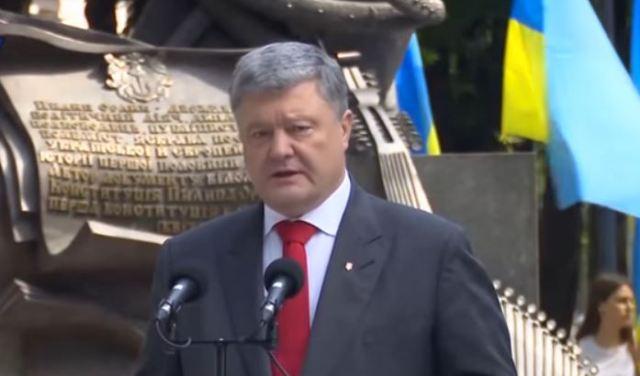 Китай і Україна, виступ Президента України Порошенка на День Конституції України