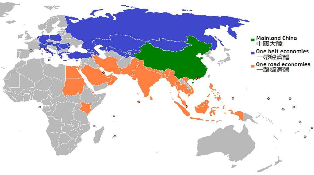 Карта-схема китайский проект, страны Одного Пояса и страны Одного пути (One Belt One Road) 2014