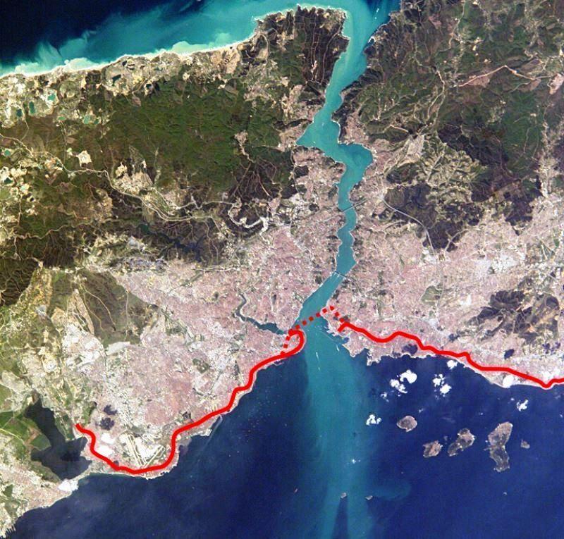 Карта підводного тунелю Мармарай під Босфором від Азії до Європи