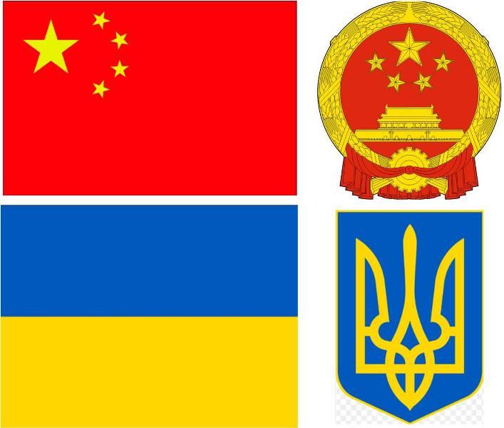 Державні прапори і герби Китаю і України