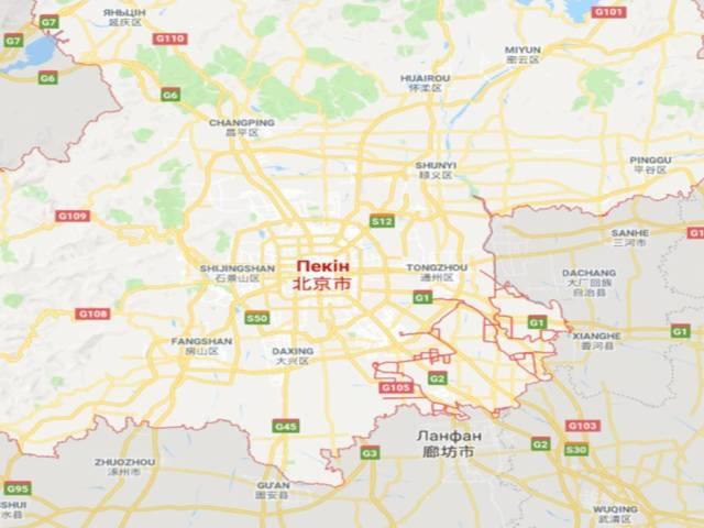 Пекін, карта, Китай і Україна