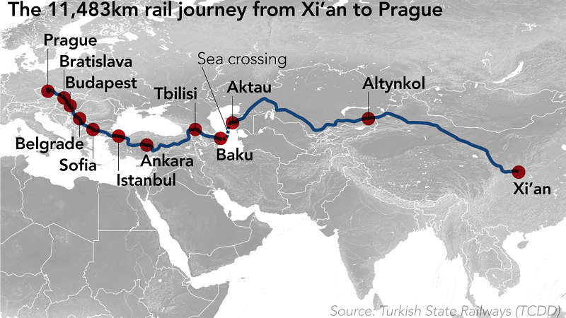 """Вже є залізничний """"Шовковий шлях"""" в обхід РФ із Китая через Казахстан, Азербайжан, Грузію і Туреччину в ЄС"""